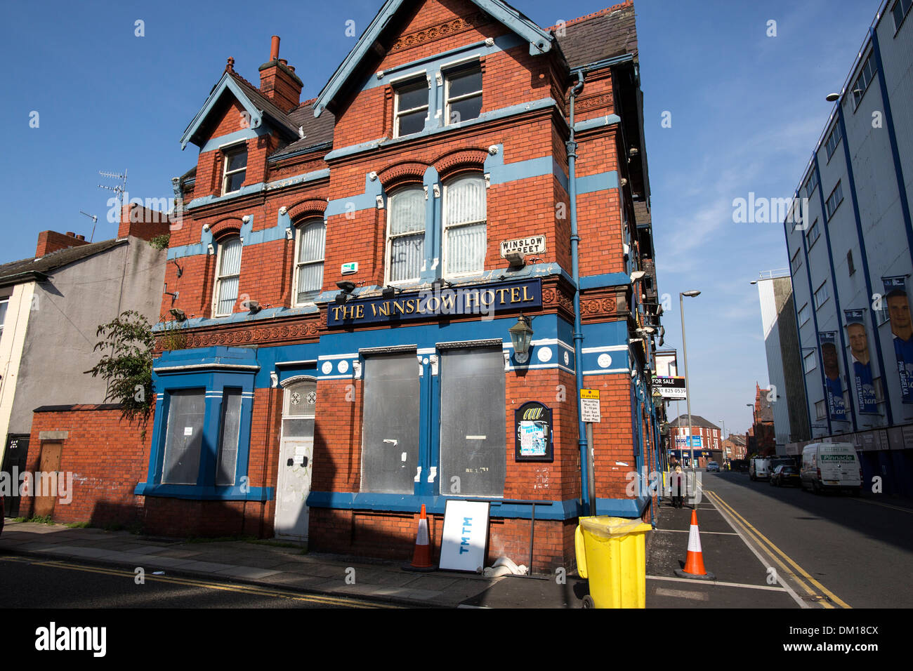The famous Winslow Hotel opposite Goodison Park, Liverpool, closed in 2013 Stock Photo