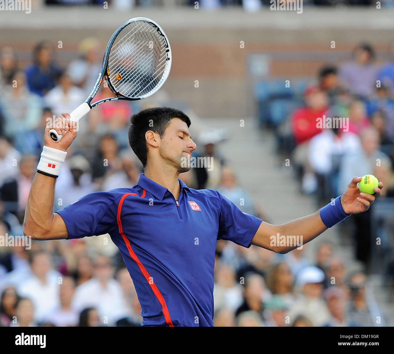 Novak Djokovic Men's singles final match on Day Fifteen of 2012 US Open at USTA Billie Jean King National Tennis Center New - Stock Image
