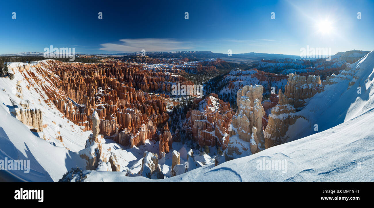 the Amphitheatre of Bryce Canyon in winter, Utah, USA - Stock Image