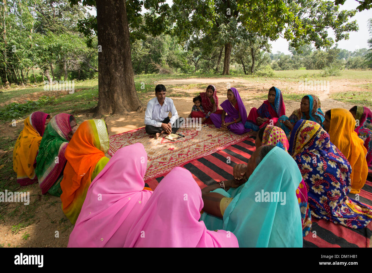 Women's microfinance meeting in Bihar State, India. - Stock Image