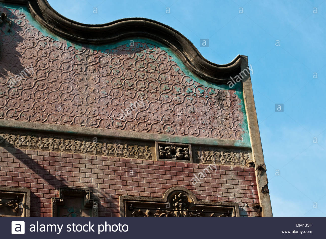 Gable of an early 20th century house, Barcelona, Catalonia, Spain - Stock Image