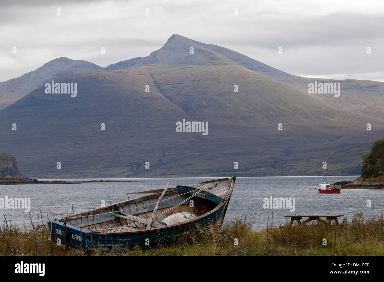 Ben More mountain on the isle of Mull, viewed from the small island of Ulva. - Stock Image