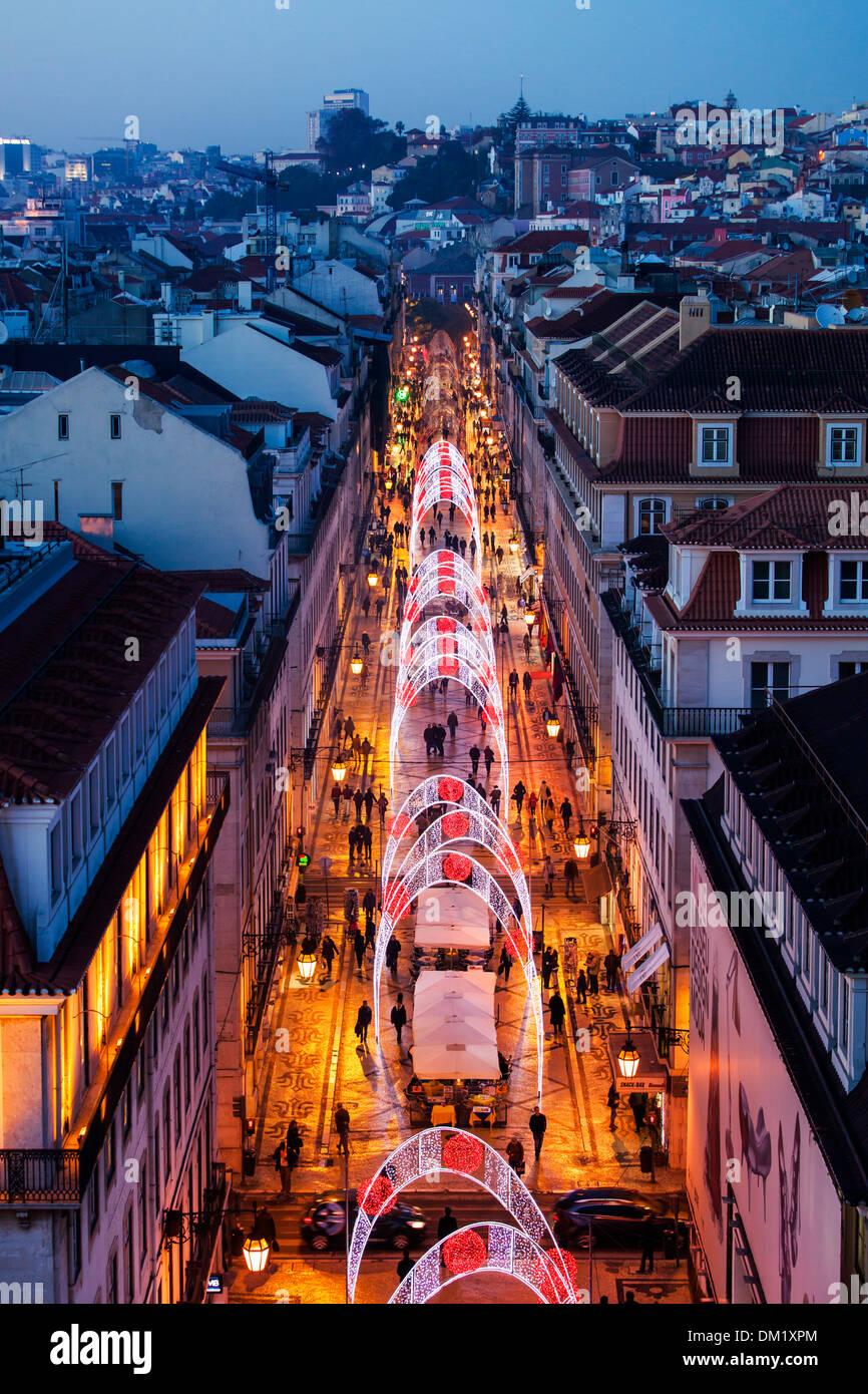 christmas lights in the rua augusta lisbon portugal europe stock image - Christmas In Portugal