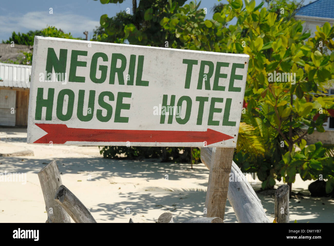 Picture of: Negril Tree House Hotel Sign On 7 Mile Beach On Negril Jamaica Stock Photo Alamy