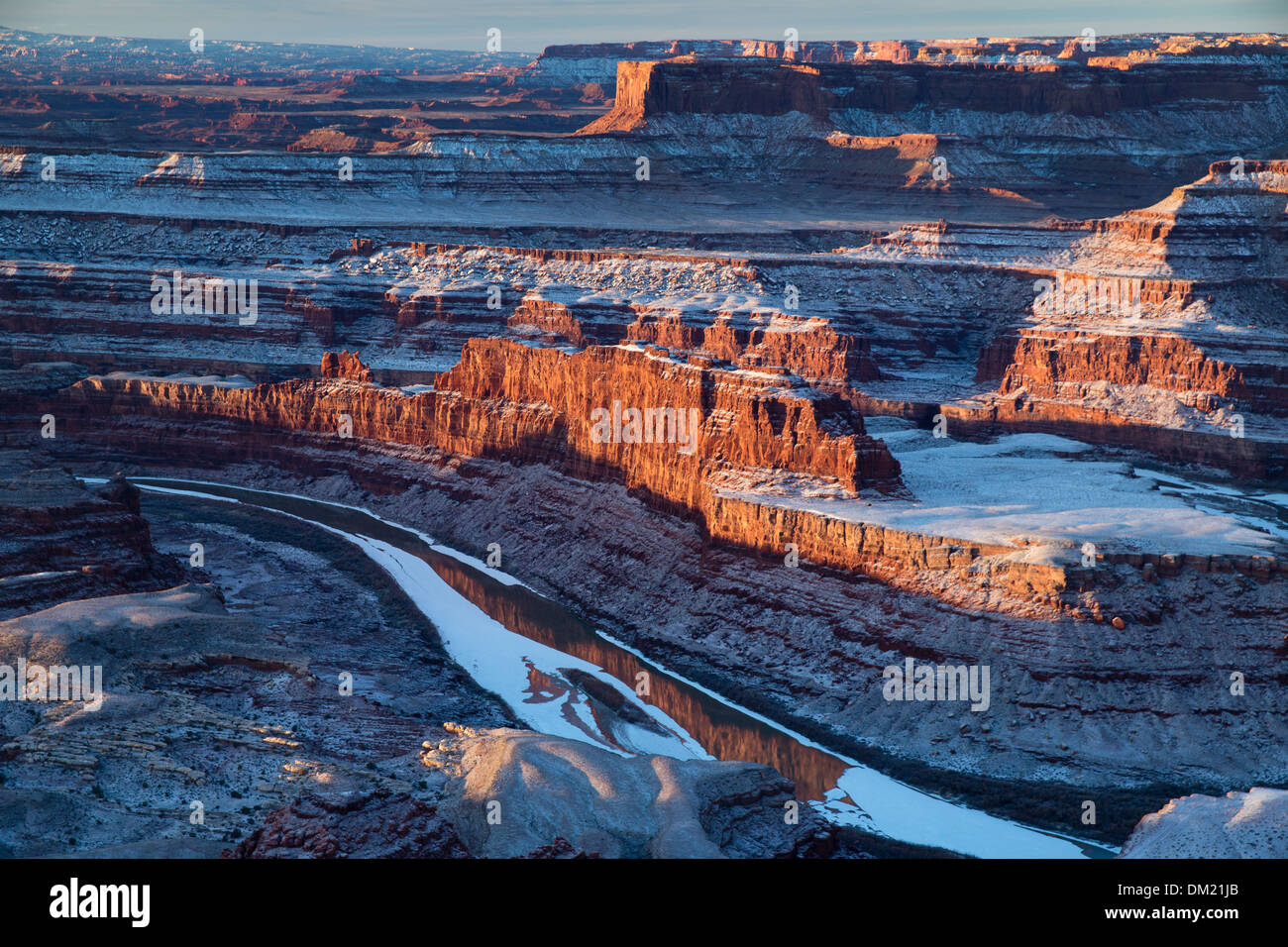 the Colorado Valley from Dead Horse Point at dawn, Utah, USA Stock Photo