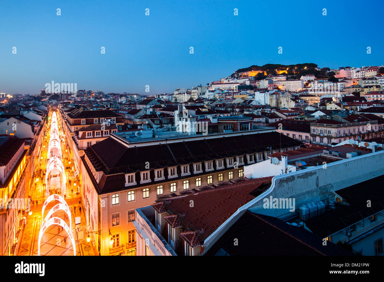 Castelo de Sao Jorge and the Christmas Lights in the Rua Augusta, Lisbon, Portugal, Europe - Stock Image