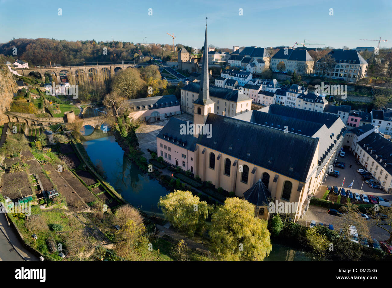 River Alzette and the Church of Jean du Grund and the Grund Quarter of the city of Luxembourg - Stock Image