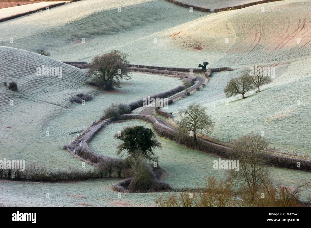 a frosty morning overlooking the road to Oborne, Dorset, England Stock Photo