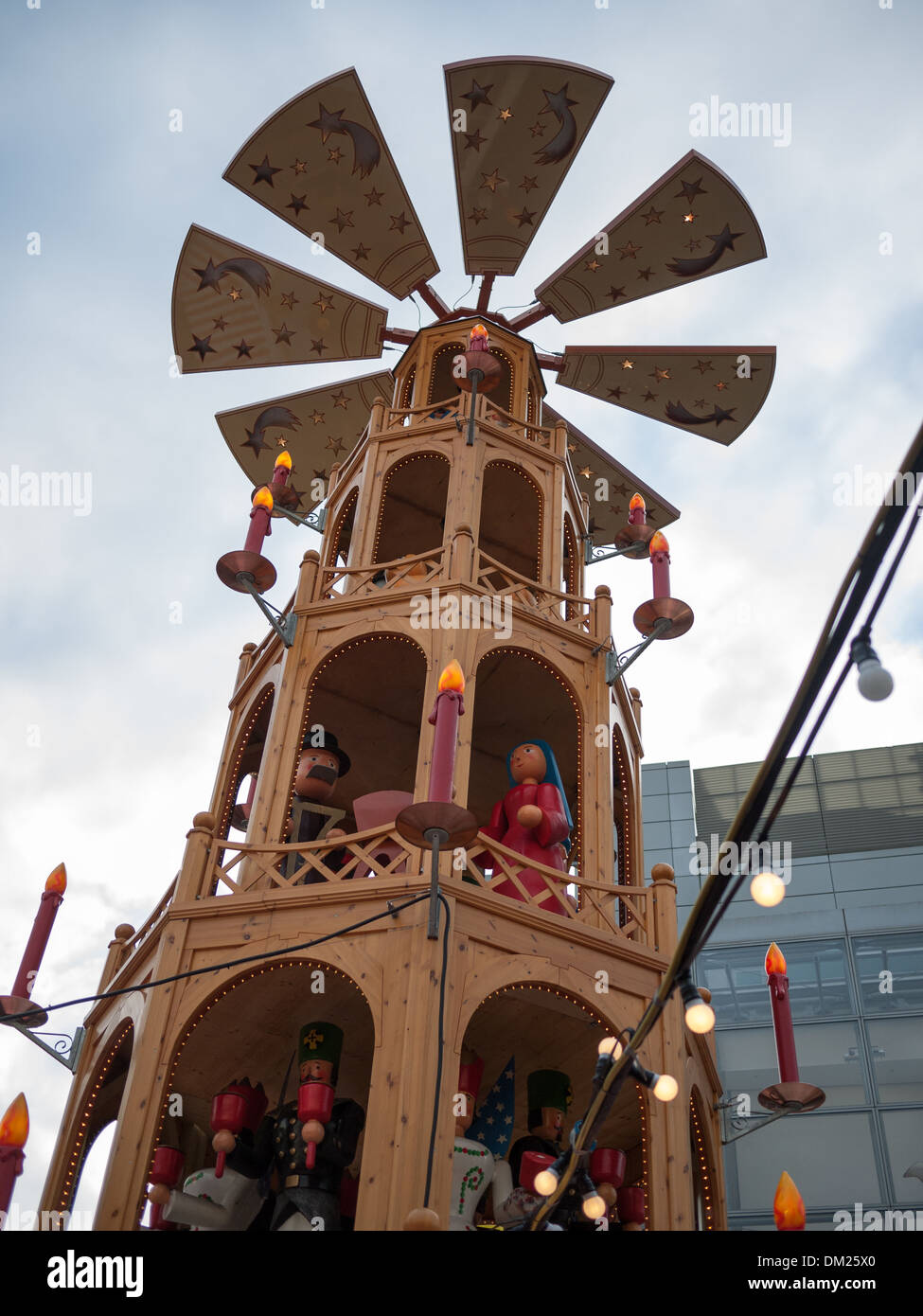 Decorative windmill at Manchester Christmas Markets - Stock Image