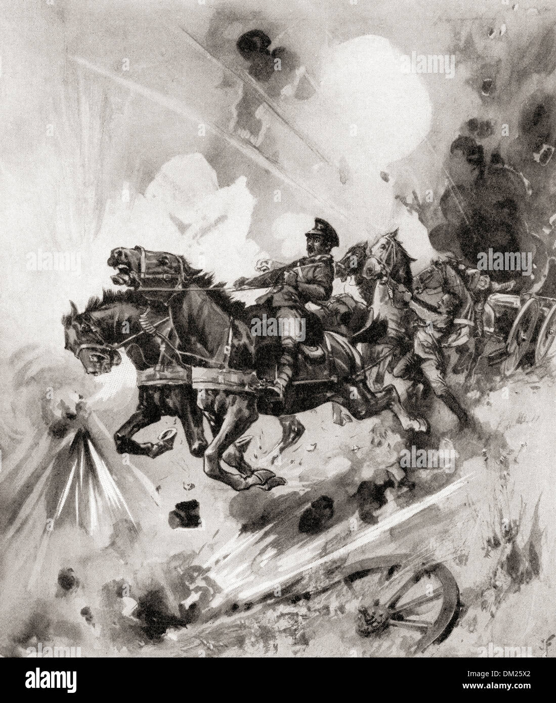 A team of horses from a British battery stampede in fright from bursting German shells during WWI. - Stock Image