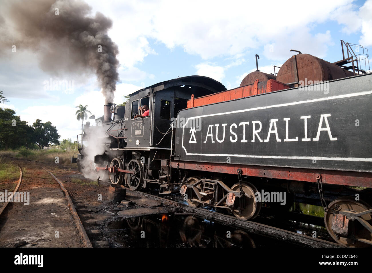 Working steam engine, in a village called Australia, Cuba, Caribbean - Stock Image