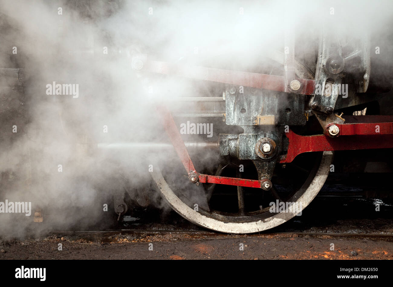 Working steam engine close up of wheels, Australia village, Cuba, Caribbean - Stock Image