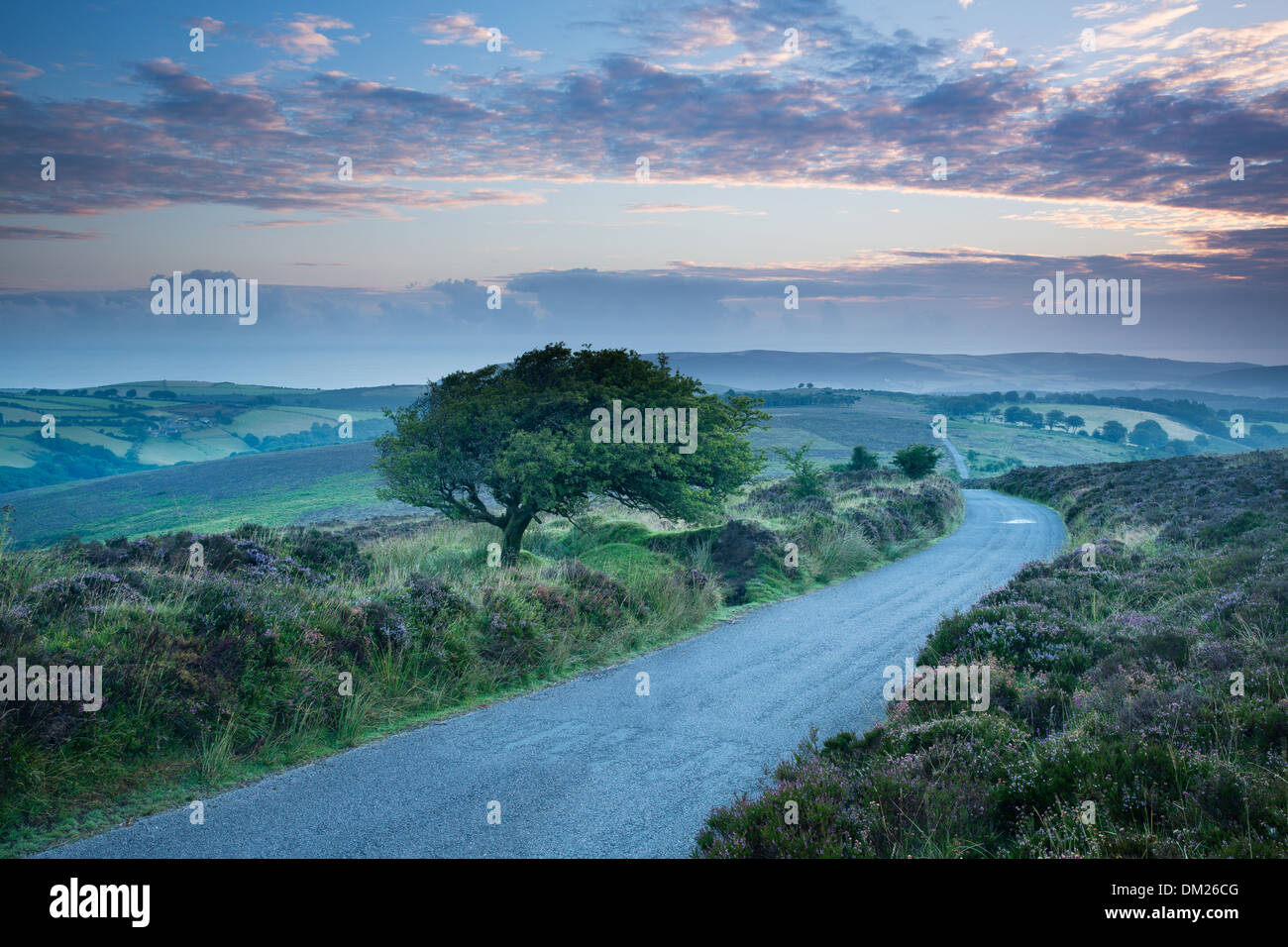 the road over Stoke Pero Common, Dunkery Hill, Exmoor National Park, Somerset, England, UK - Stock Image