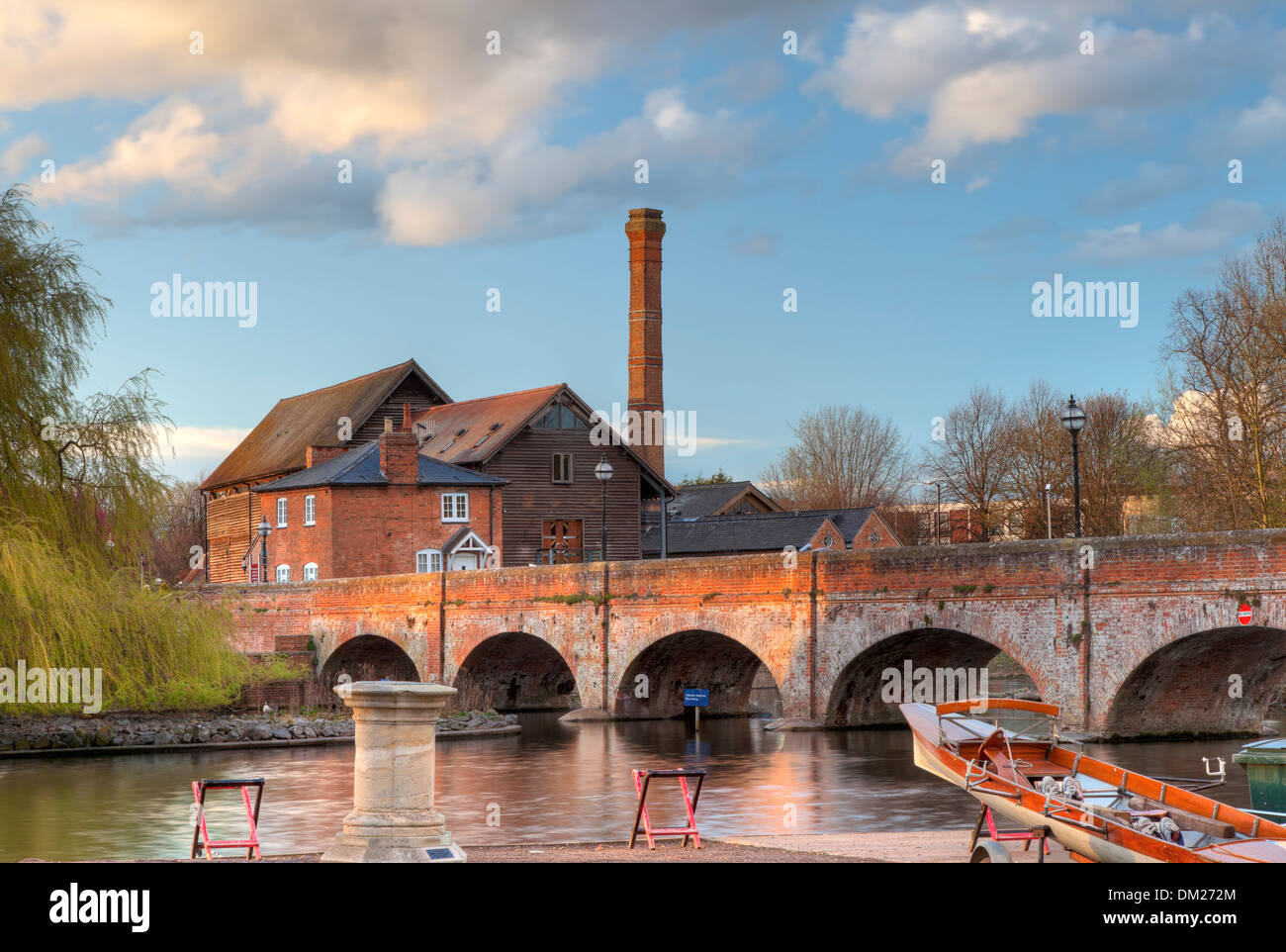 The old mill saw mill and foot bridge, Stratford upon Avon, Warwickshire, England. Stock Photo