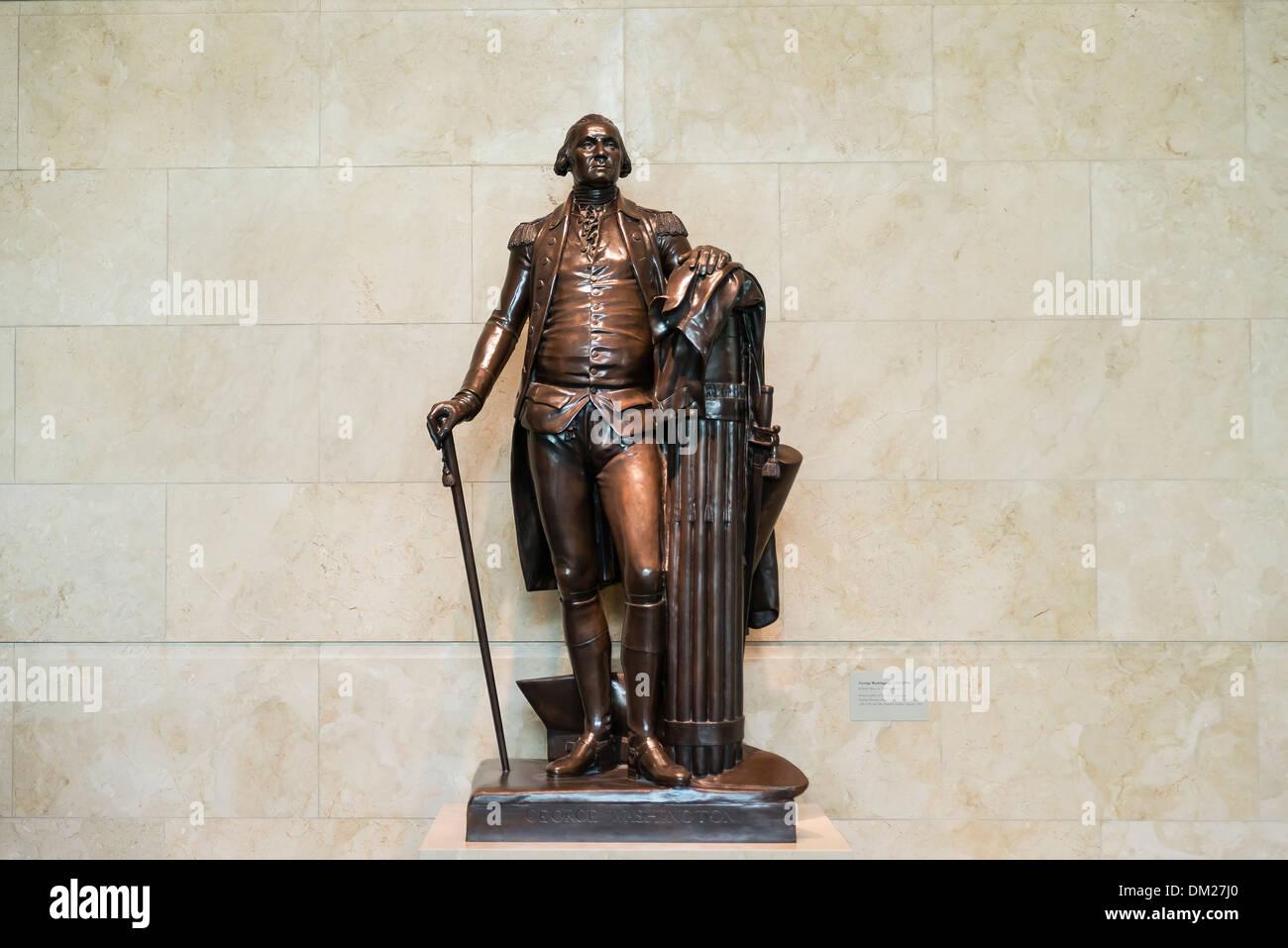 Bronze sculpture of George Washington at visitors center at Mt Vernon, Virginia, USA - Stock Image
