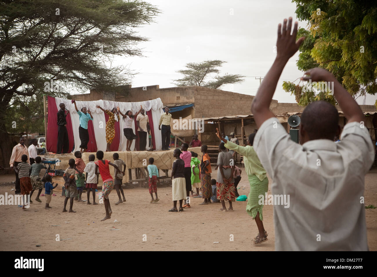 Street Pentecostal church service in Lodwar, Kenya, East Africa. - Stock Image