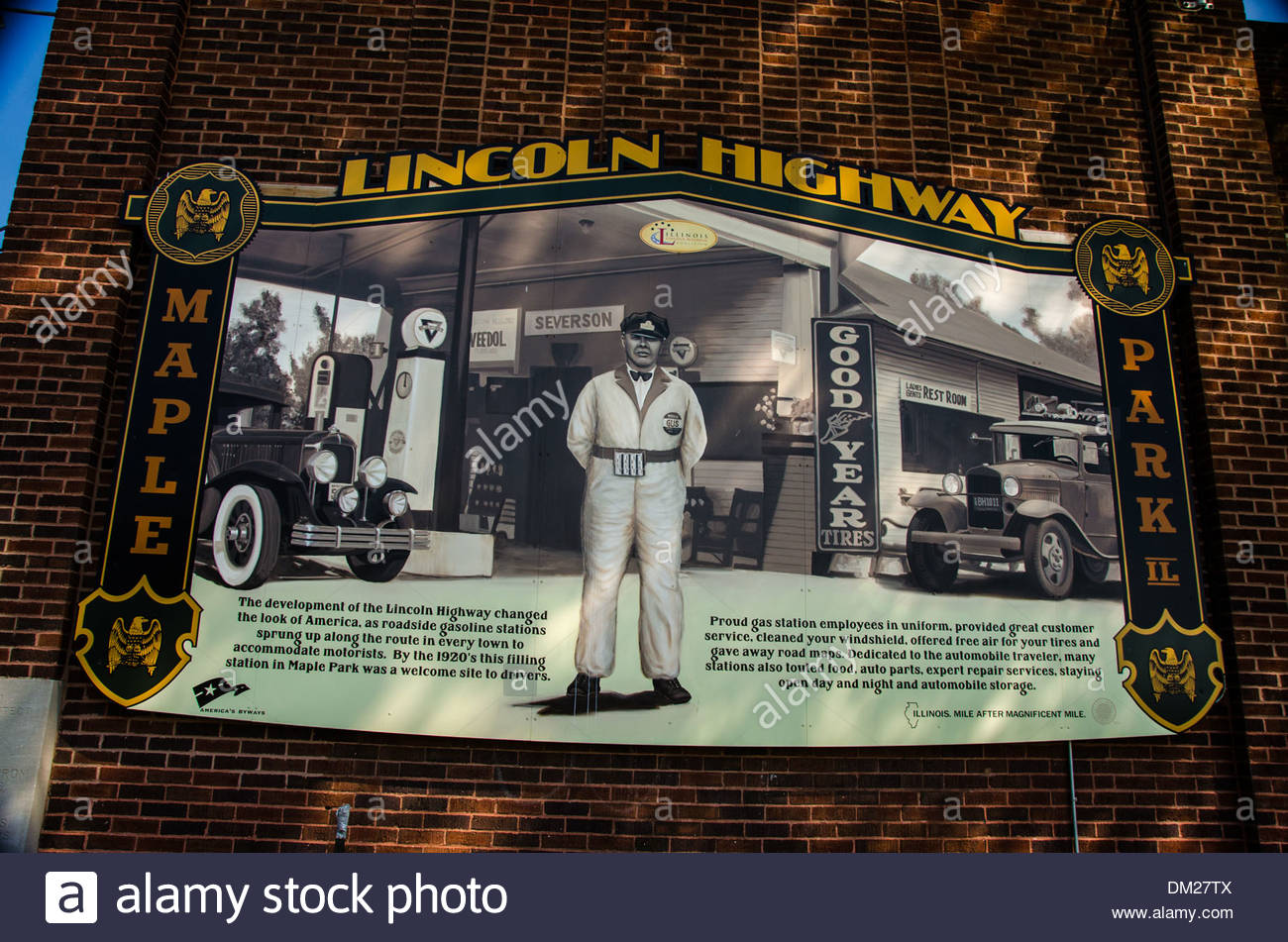 Lincoln Highway Interpretive Mural in Maple Park, Illinois, a town along the Lincoln Highway - Stock Image