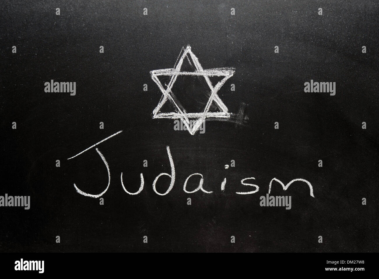 Close up of a blackboard with Judaism written on it in chalk. - Stock Image