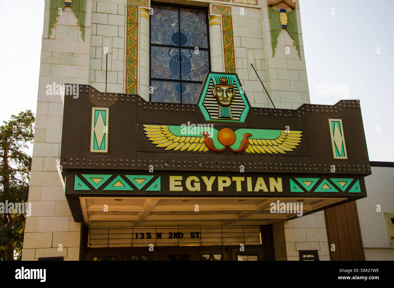 The historic Egyptian Theater in DeKalb, Illinois, a town along the Lincoln Highway, - Stock Image