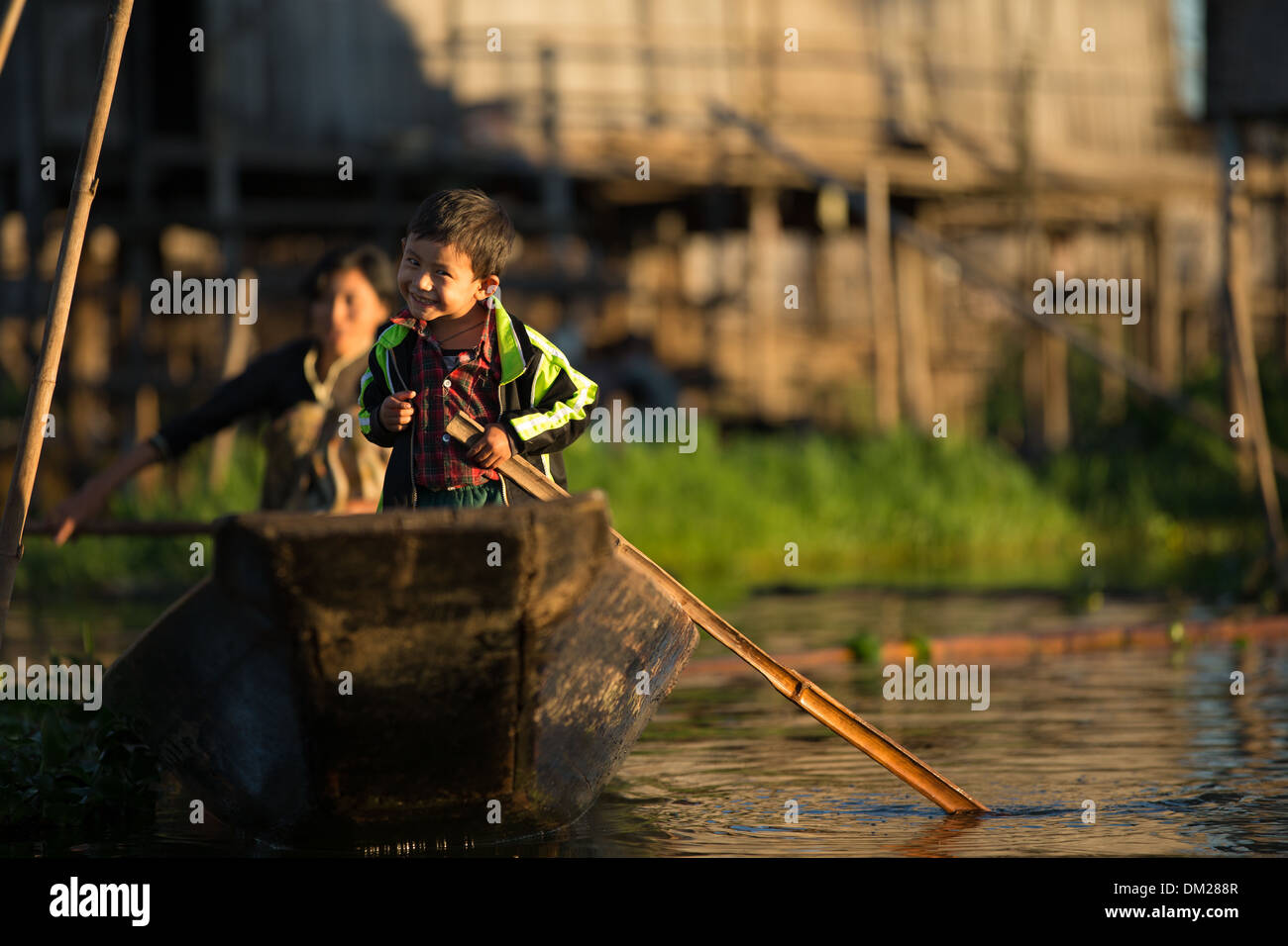 mother and child on the water, Inle Lake, Myanmar (Burma) - Stock Image