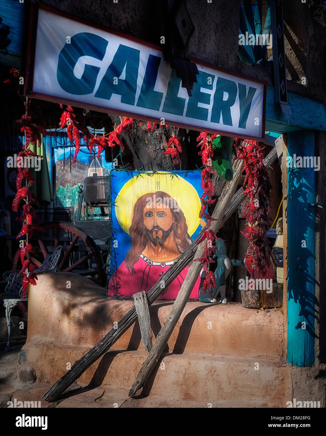 A image of Jesus at an art gallery and cantina , across the street from El  Santuario De Chimayo in Northern New Mexico - Stock Image