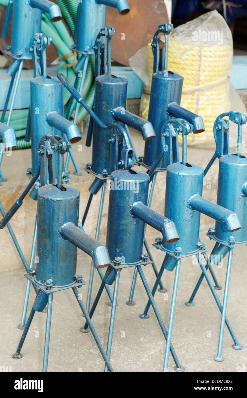 Hand operated water pumps for sale in India Stock Photo