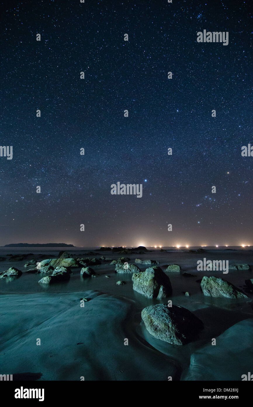 a starry night featuring the Orion constellation over the Bay of Bengal from Ngapali, Rakhaing, Myanmar (Burma) - Stock Image