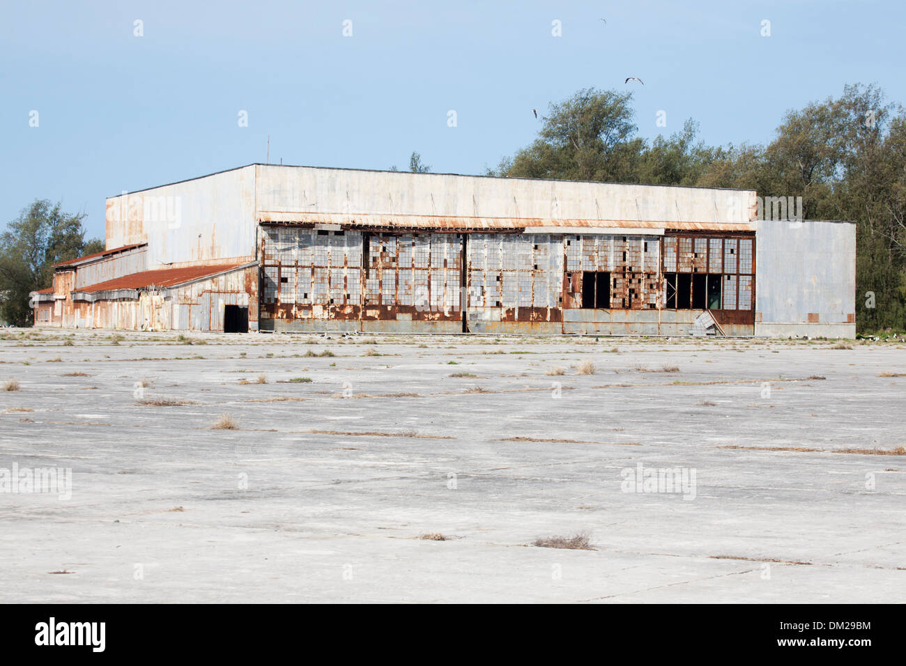 Midway seaplane hangar shelled in WWII on Dec 7, 1941 and set on fire by Japanese air attack Jun 4, 1942. Stock Photo