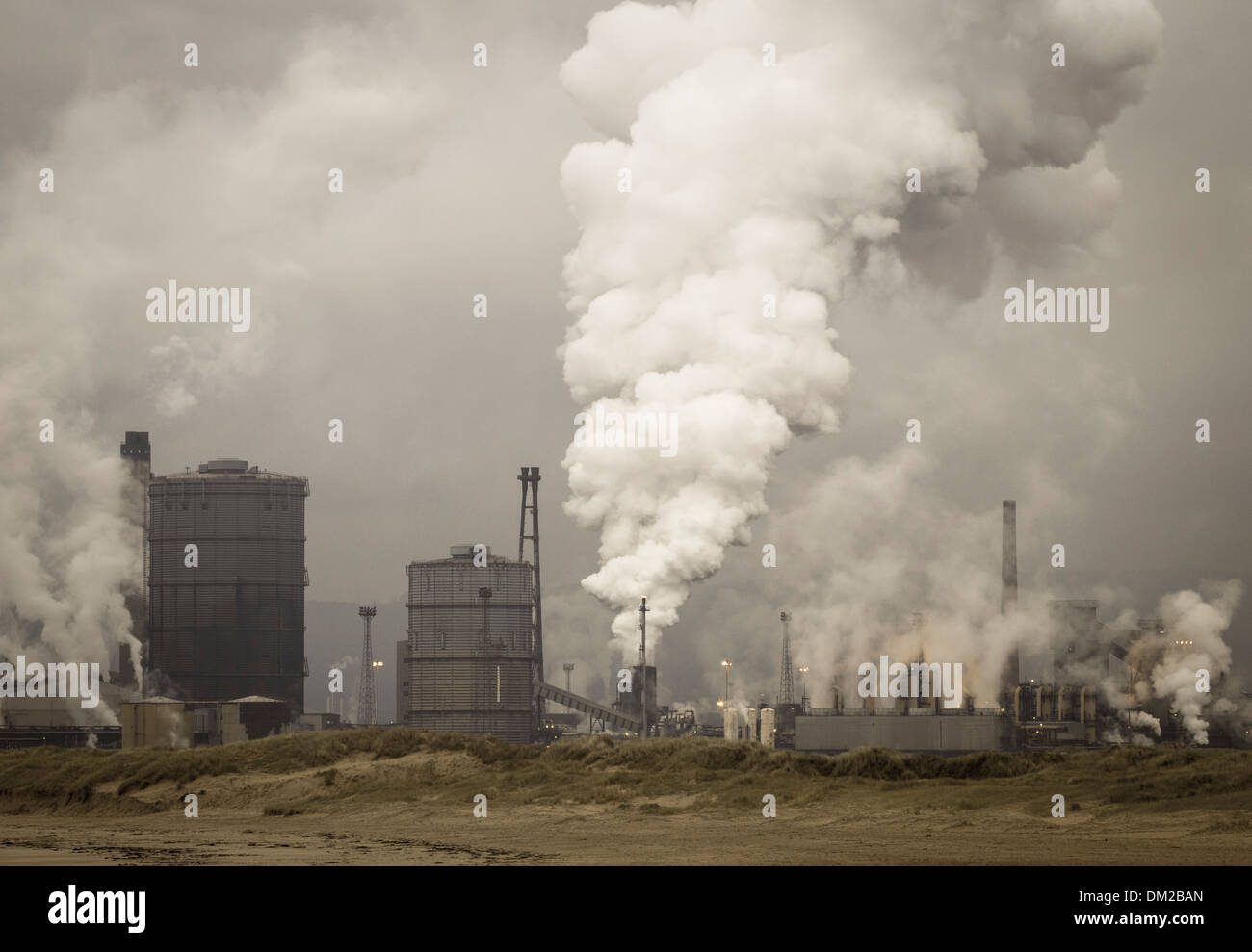 View from beach of Steelworks at Redcar on the north east coast of England, UK - Stock Image