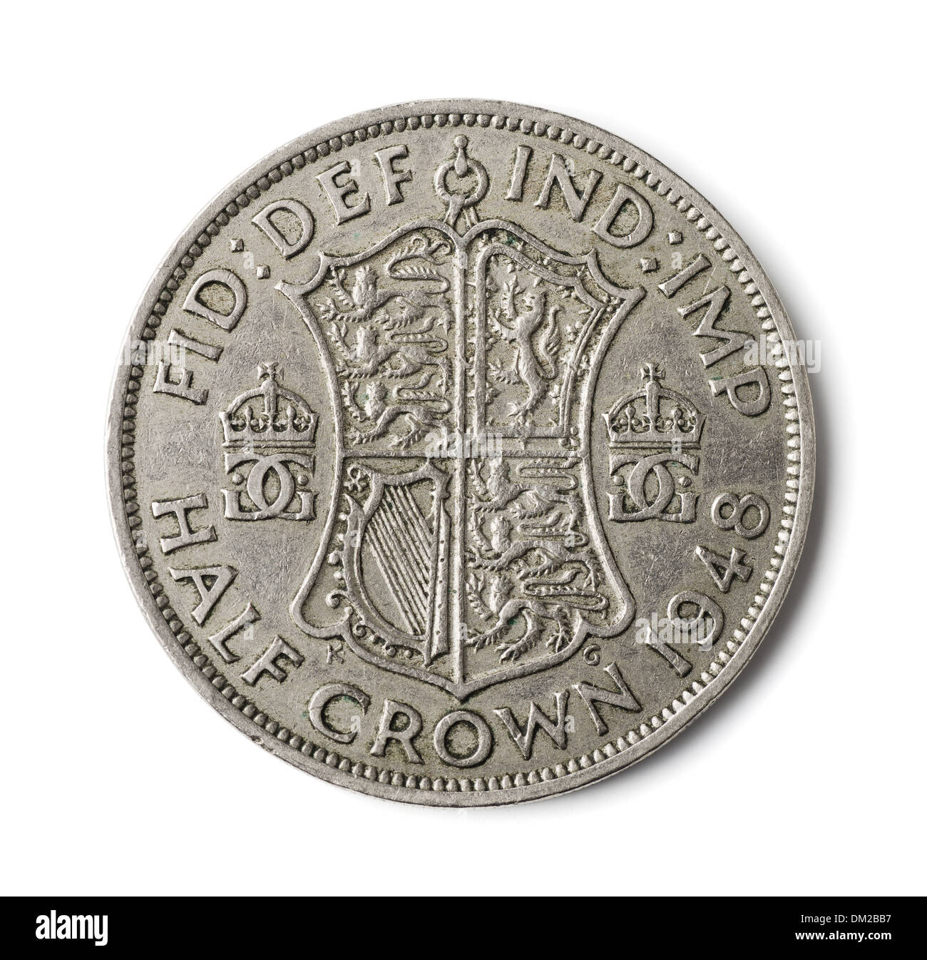 Old British half crown coin isolated on white - Stock Image