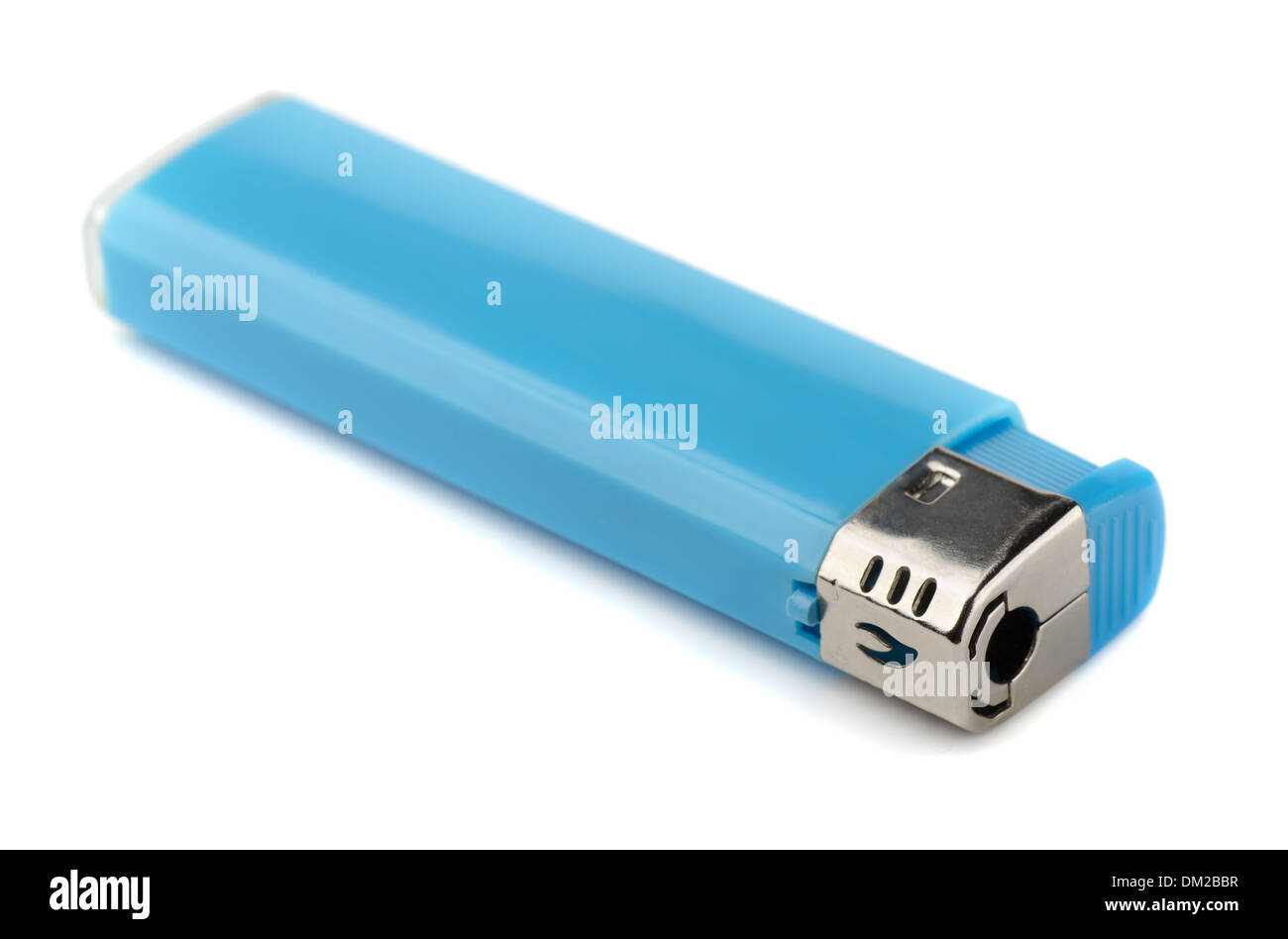 Blue plastic lighter isolated on white - Stock Image