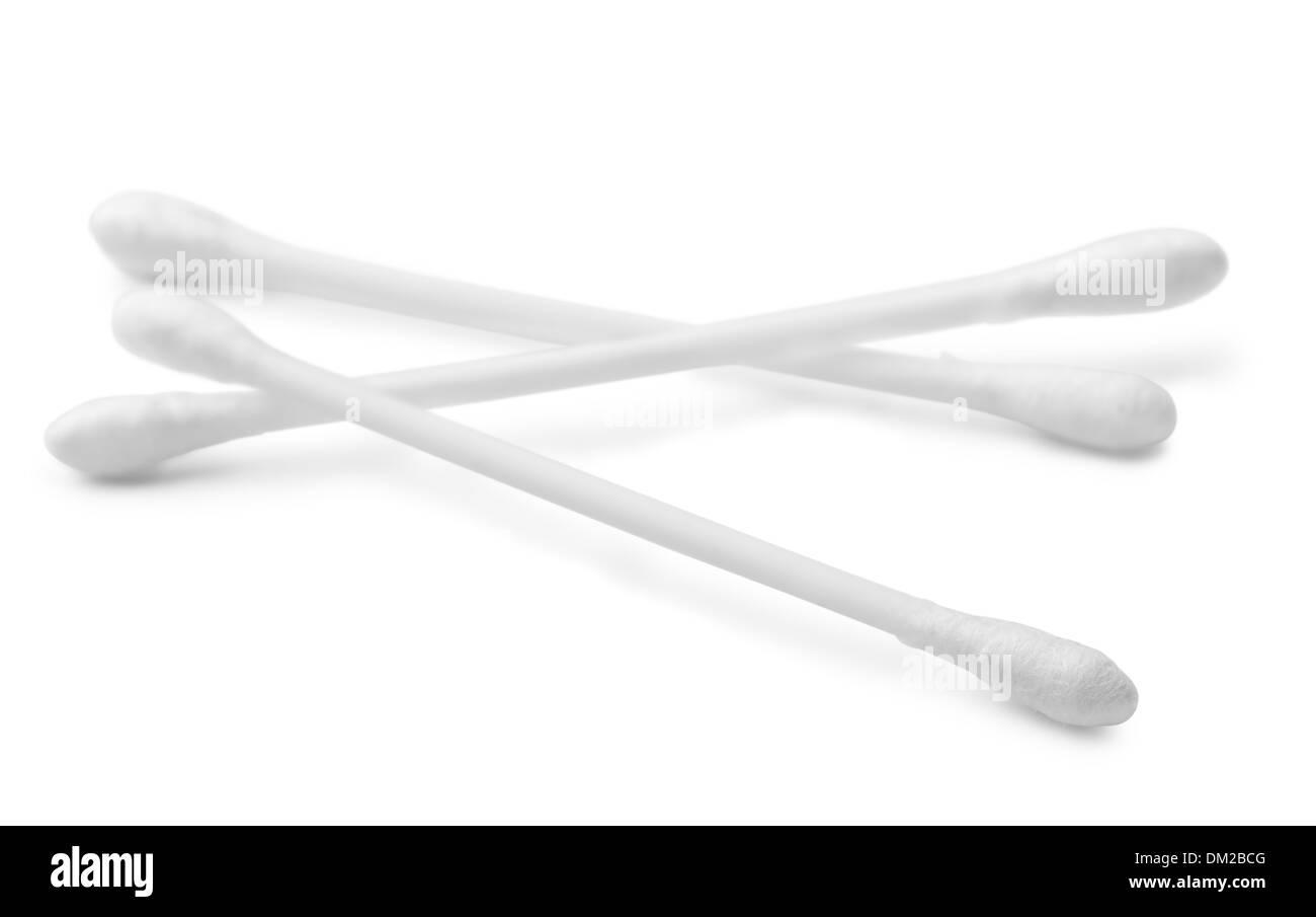 White cotton swabs isolated on white - Stock Image