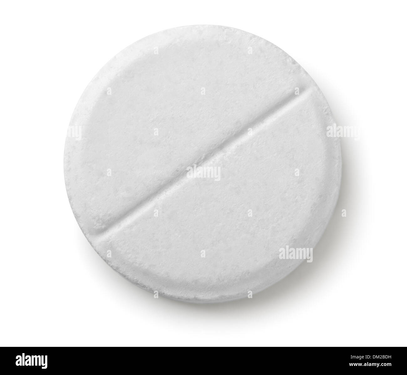Single white pill isolated on white - Stock Image