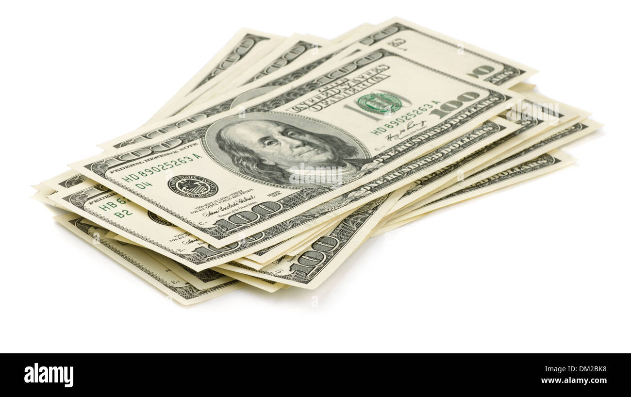 Stack of one hundred dollars bills isolated on white - Stock Image