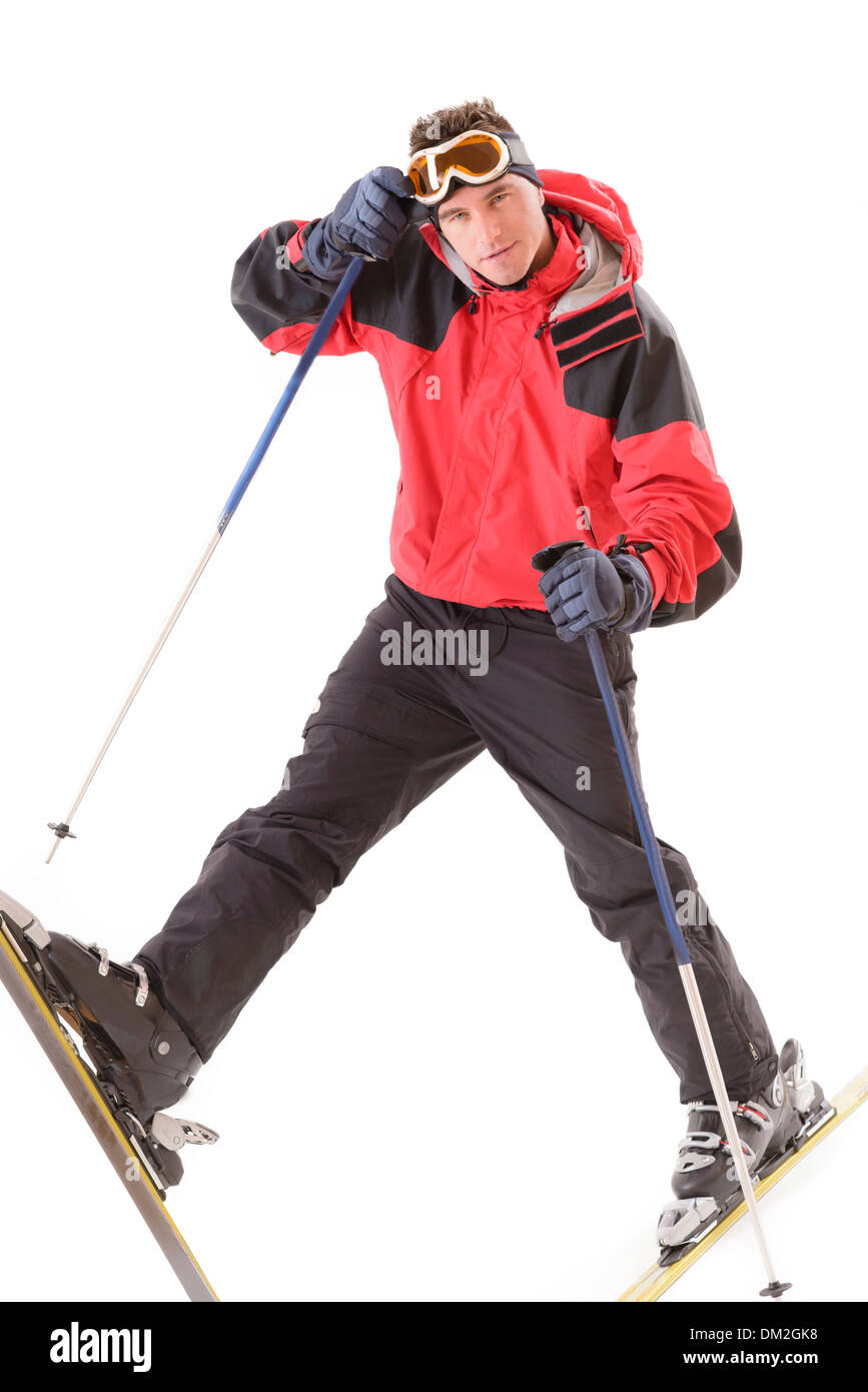 Man in ski suit isolated on white - Stock Image