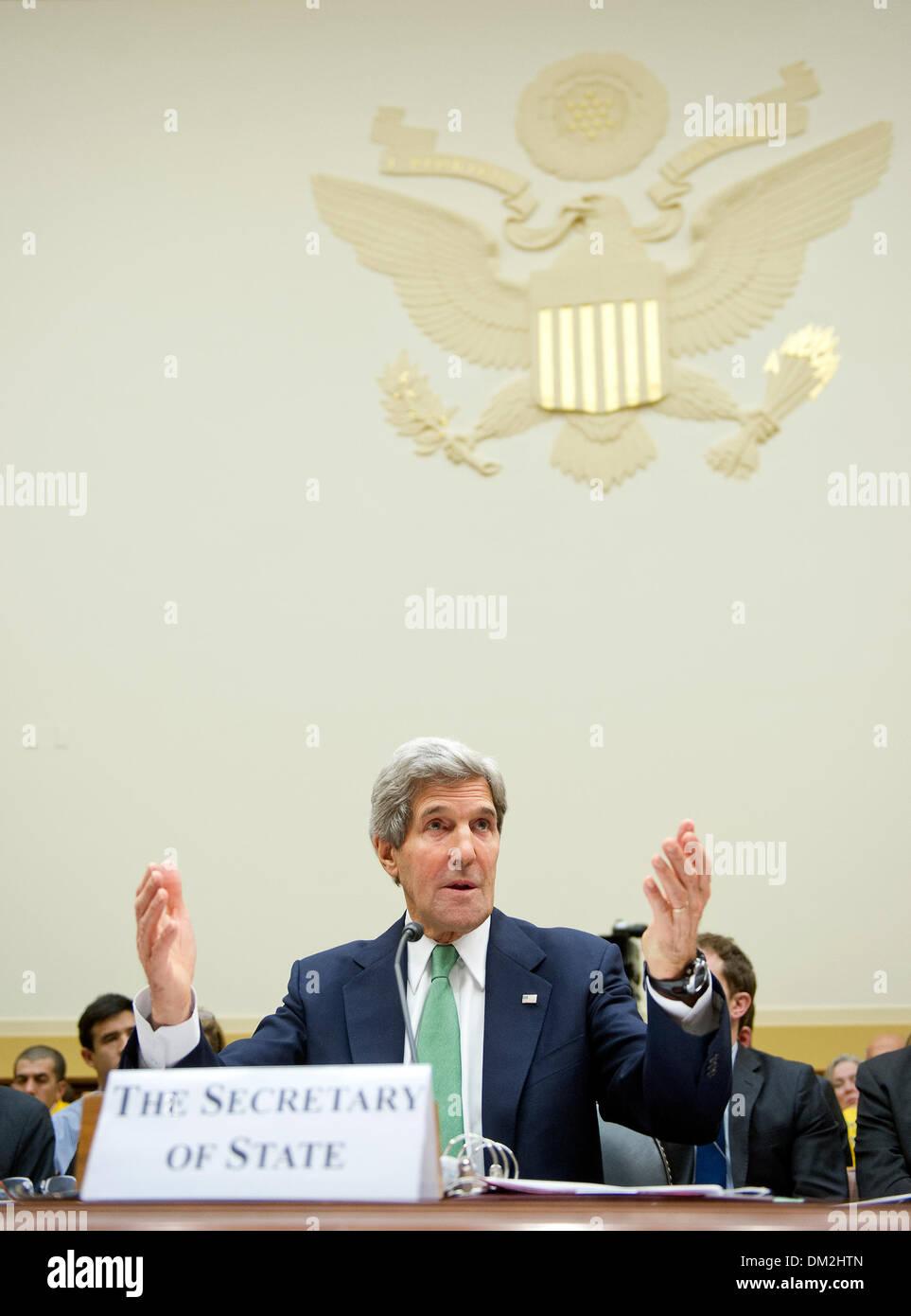 Washington DC, USA. 11th Dec, 2013. United States Secretary of State John F. Kerry testifies before the U.S. House Stock Photo