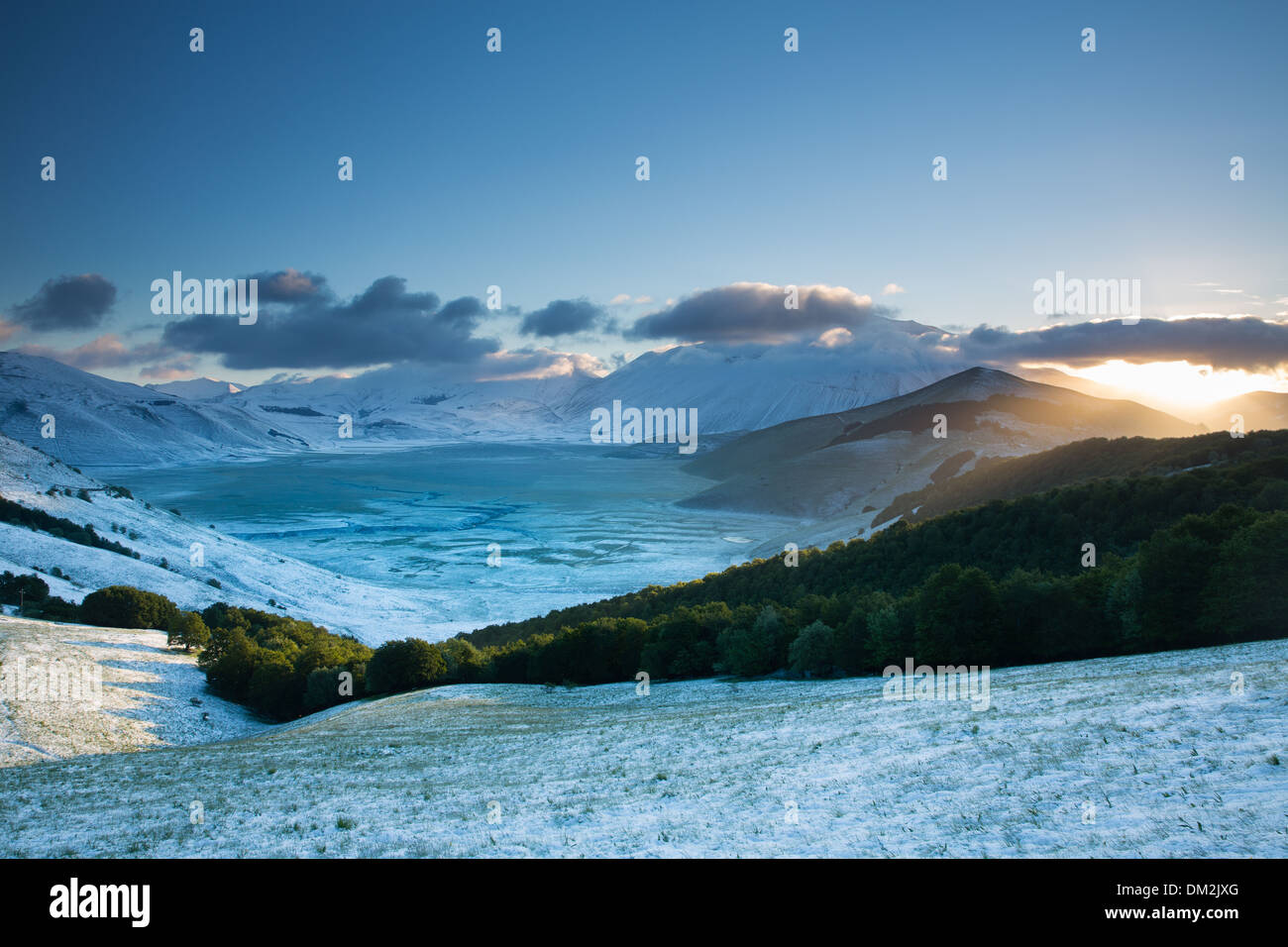 snow on the Piano Grande at dawn, Monti Sibillini National Park, Umbria. Italy - Stock Image