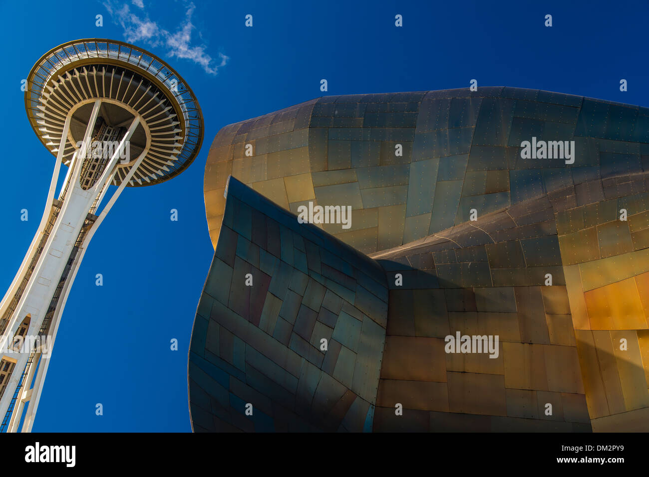 The Experience Music Project Museum and Space Needle, Seattle, Washington, USA - Stock Image