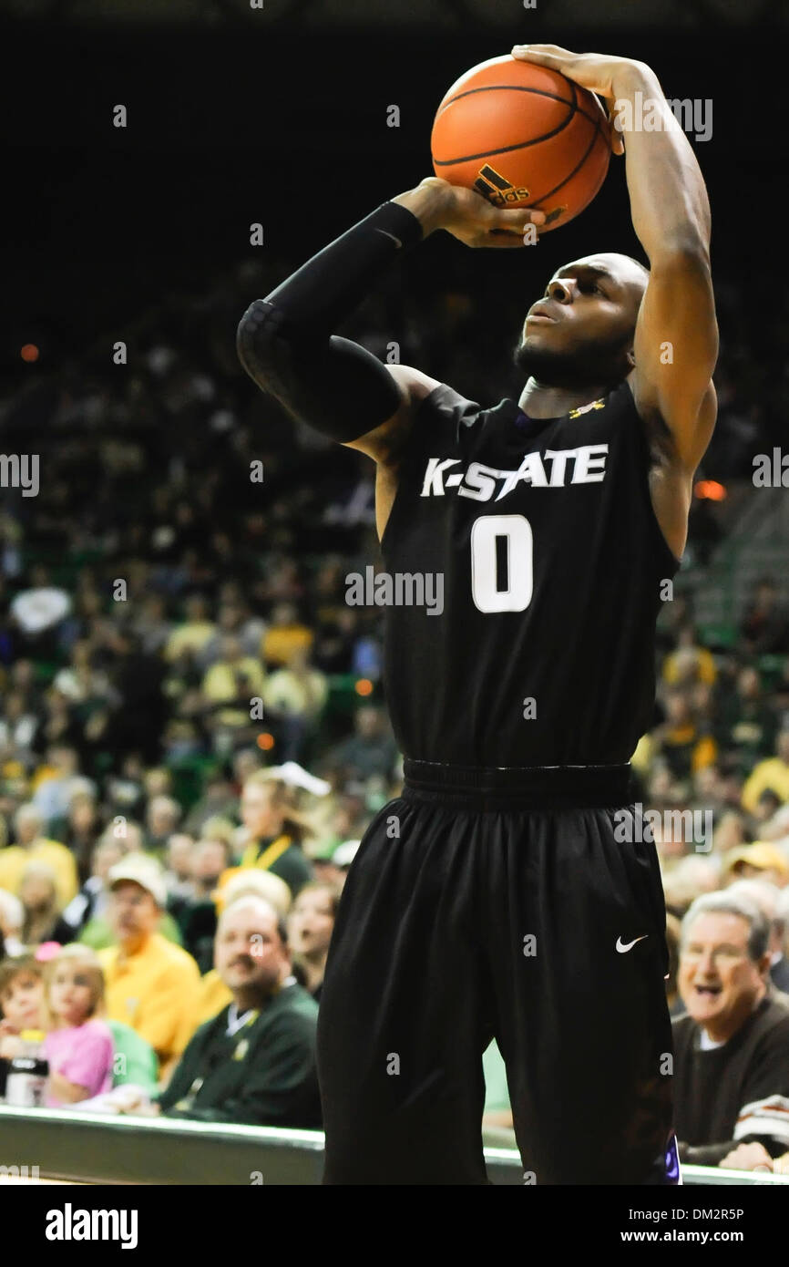 Kansas State G Jacob Pullen (0) pulls up for a three pointer  as the #11 Kansas State Wildcats take on the #24 Baylor Bears at Ferrell Center in Waco, Texas.  The KState Wildcats earns the win, 76-74. (Credit Image: © Steven Leija/Southcreek Global/ZUMApress.com) - Stock Image