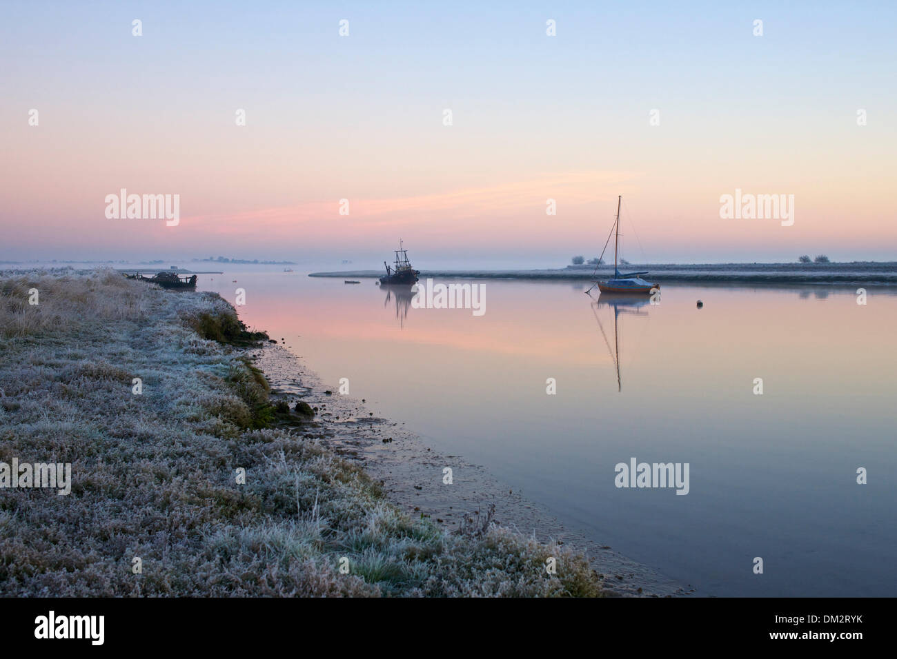 A cold early morning at Hollowshore where Faversham and Oare creeks combine Stock Photo