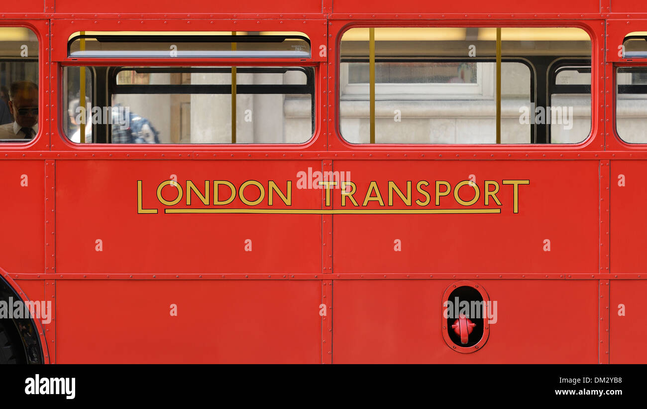 London Transport Sign on the Side of a Routemaster Double Decker Bus, London, UK. - Stock Image