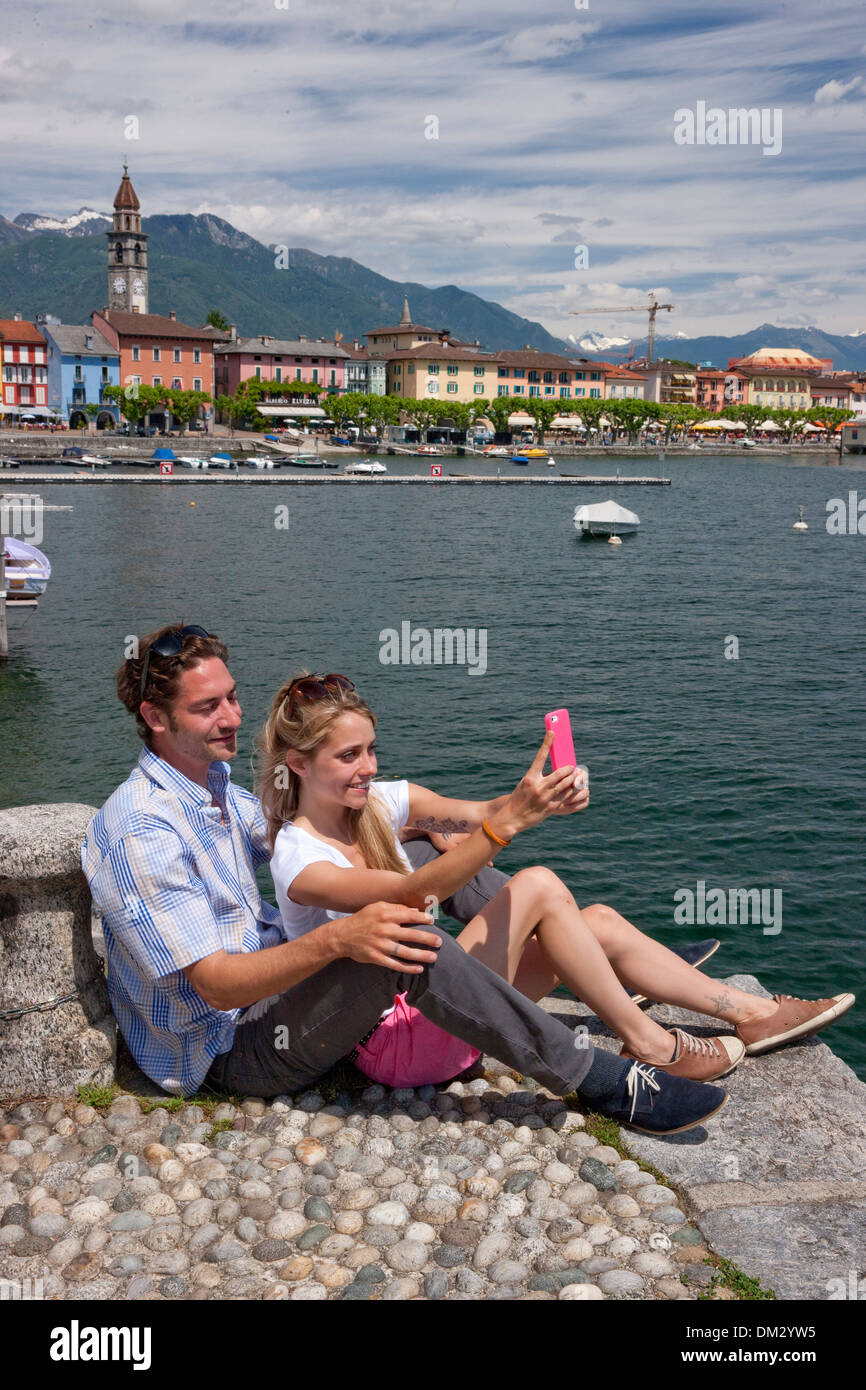 Switzerland Europe river flow brook bodies of water waters lake summer canton TI Ticino Southern Switzerland Lago Maggiore - Stock Image