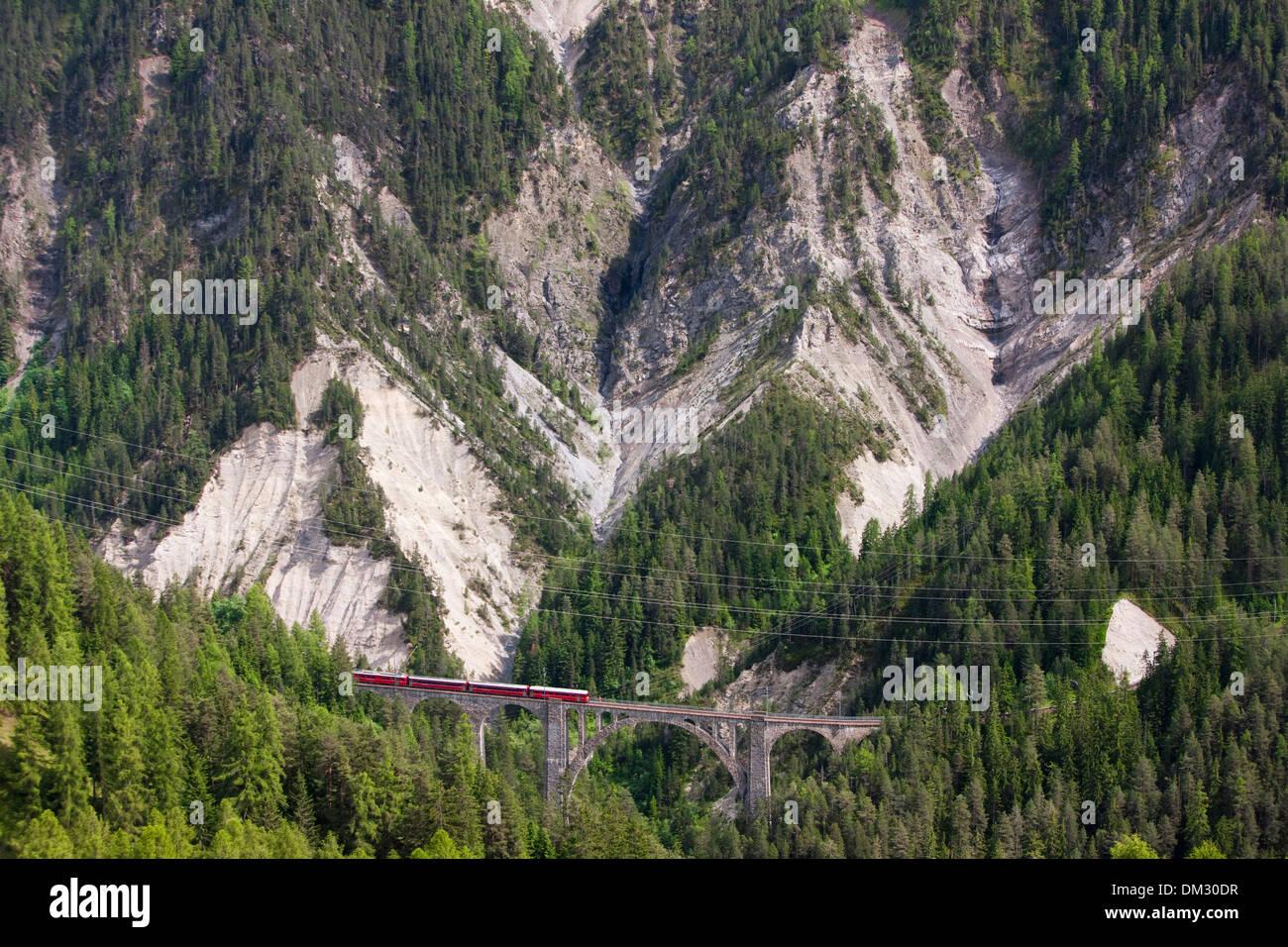 Switzerland Europe railway train railroad mountain mountains