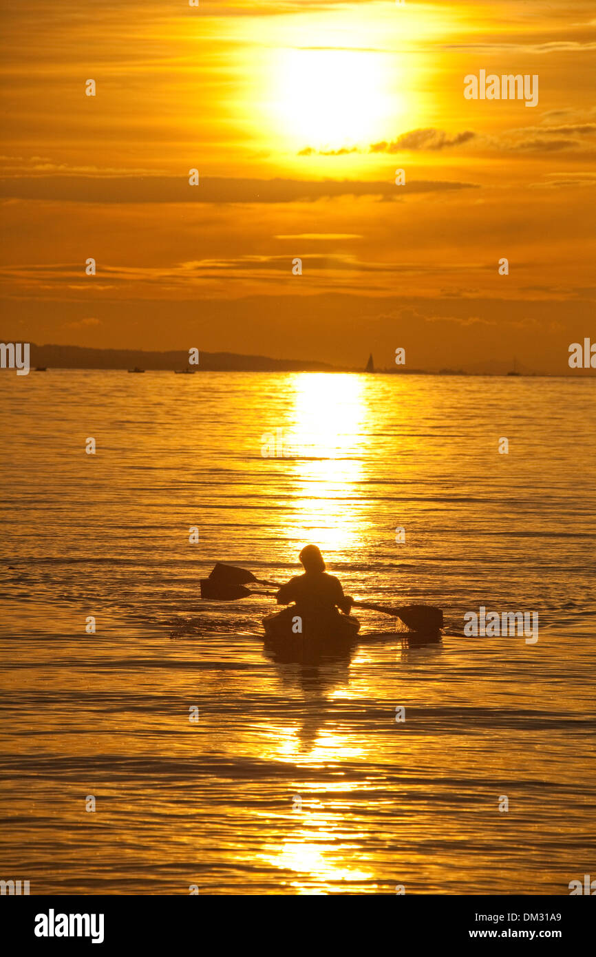 Switzerland, Europe, sundown, sunset, canoe, paddle boat, lake Constance, lake, Stock Photo