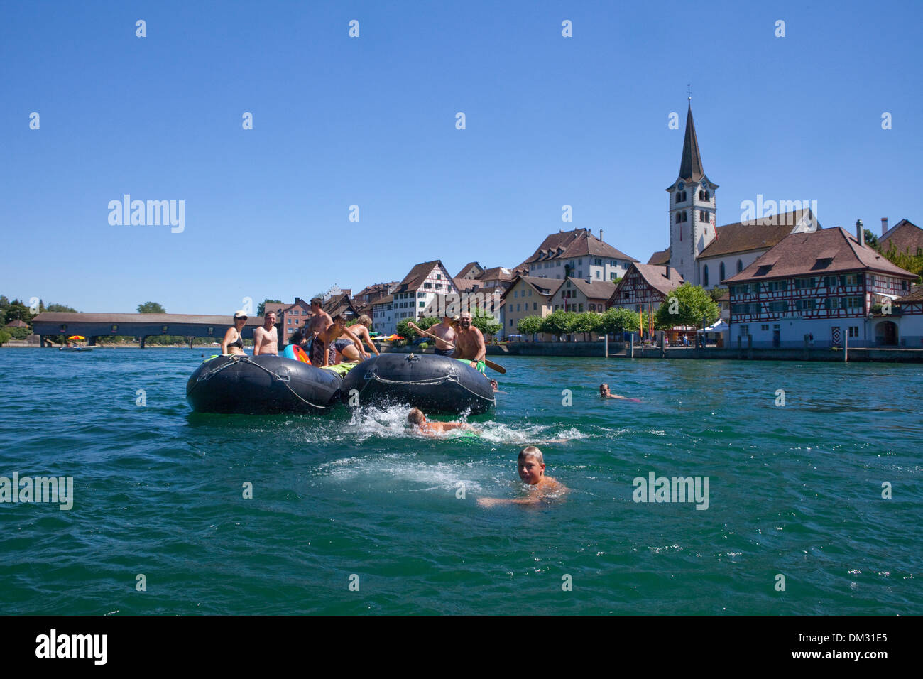 Switzerland Europe ship boat ships boats water sport boat rubber dinghy life raft canton TG Thurgau group Rhine Diessenhofen - Stock Image