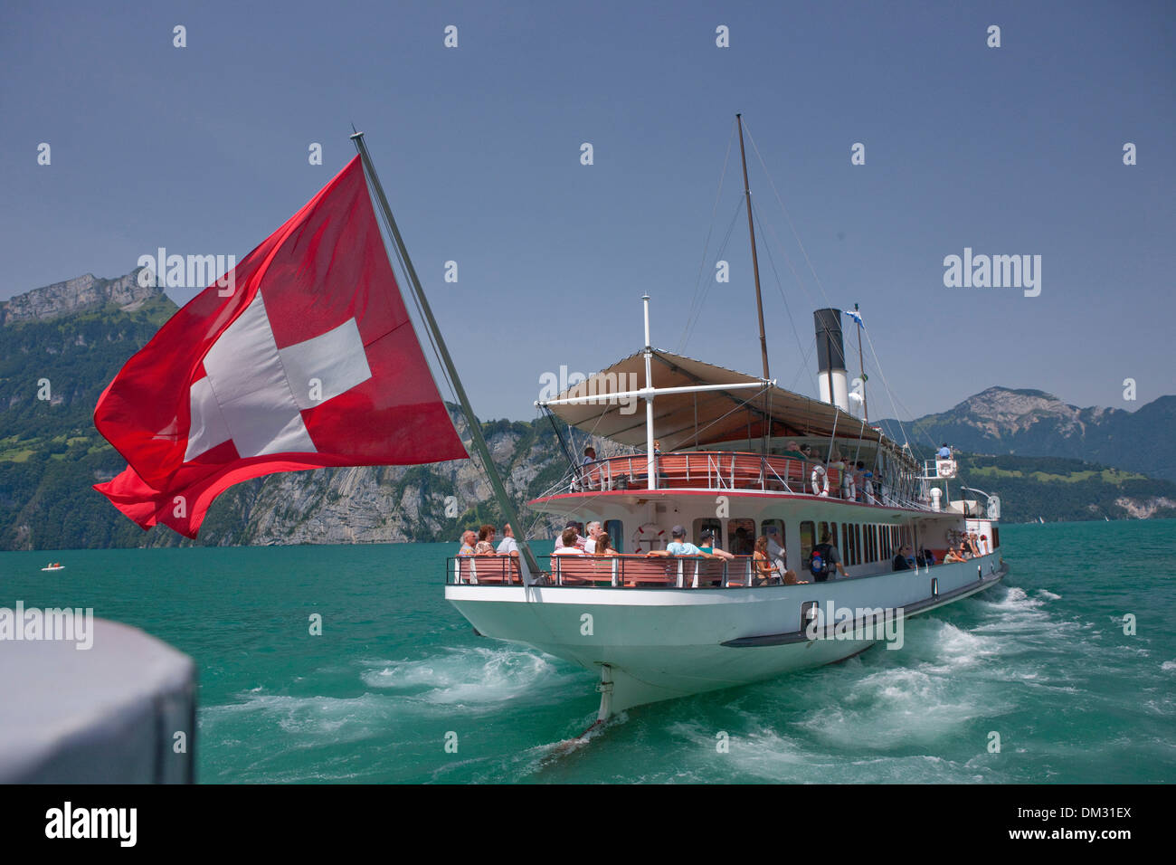 Switzerland, Europe, lake Lucerne, central Switzerland, canton, UR, Uri, steamboat, Swiss, flag, lake, Swiss flag, - Stock Image