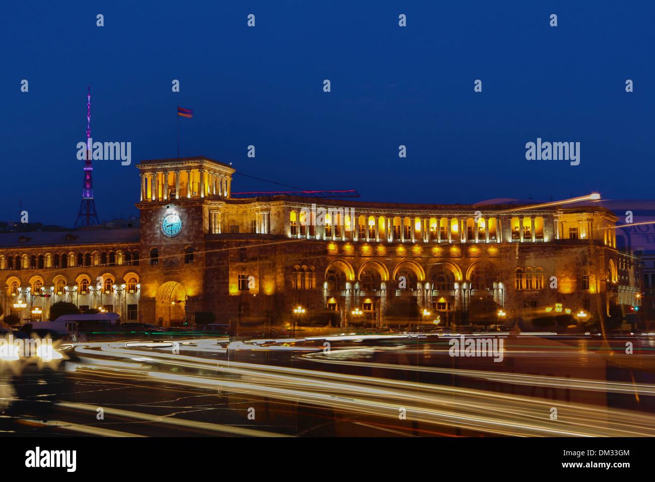 Armenia South Caucasus Caucasus Eurasia building History Clock Republic Yerevan architecture city downtown famous landmark - Stock Image
