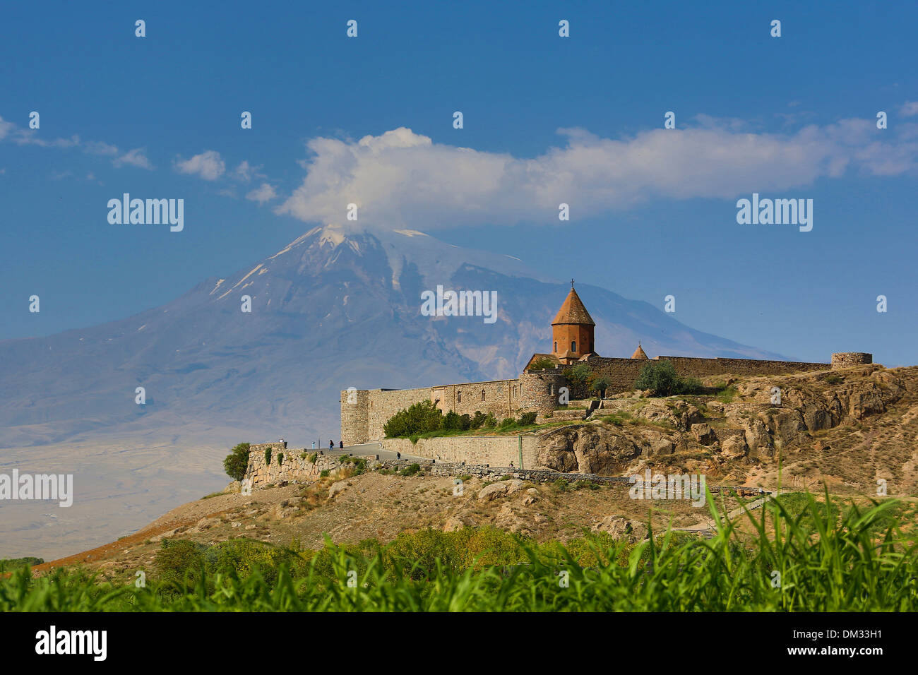 Armenia South Caucasus Caucasus Eurasia Khor Virap Lusarat Noe Ararat mountain architecture church history historical - Stock Image