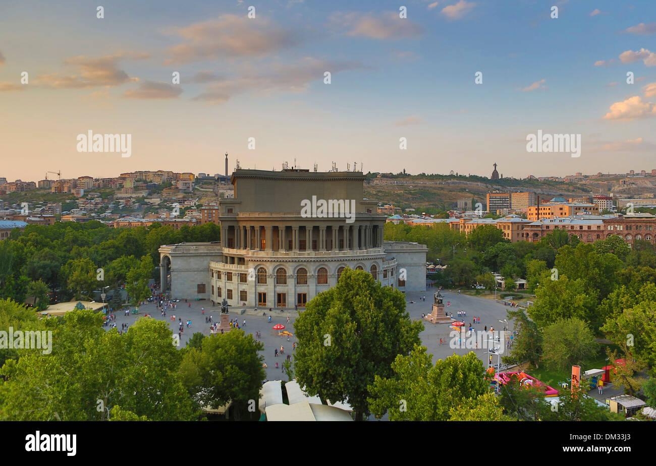 Armenia, South Caucasus, Caucasus, Eurasia, Opera House, Yerevan, city, downtown, skyline, square, trees - Stock Image