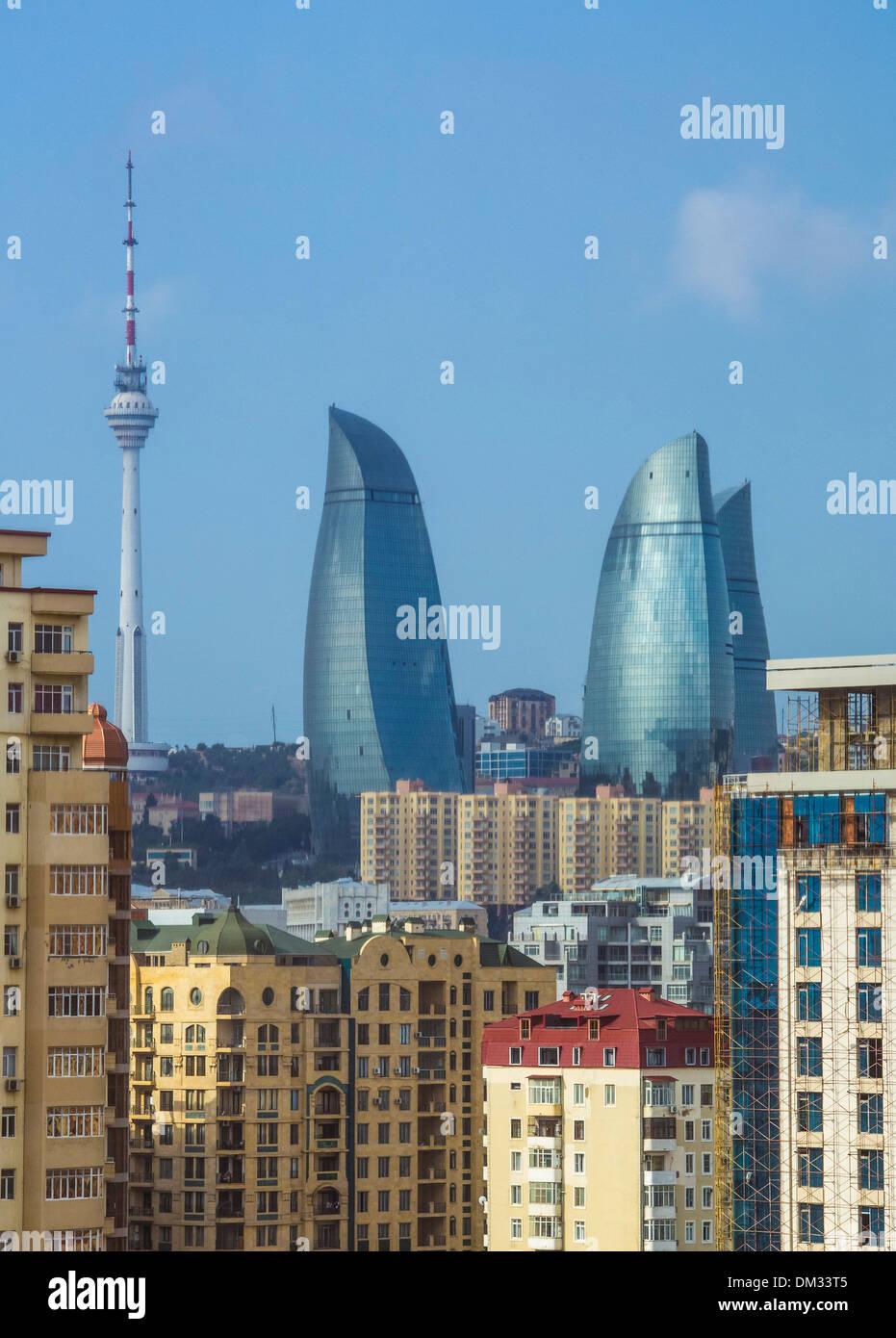 Azerbaijan, Caucasus, Eurasia, Baku, City, Flame, Tele, architecture, new, skyline, tower, modern, Flame towers - Stock Image